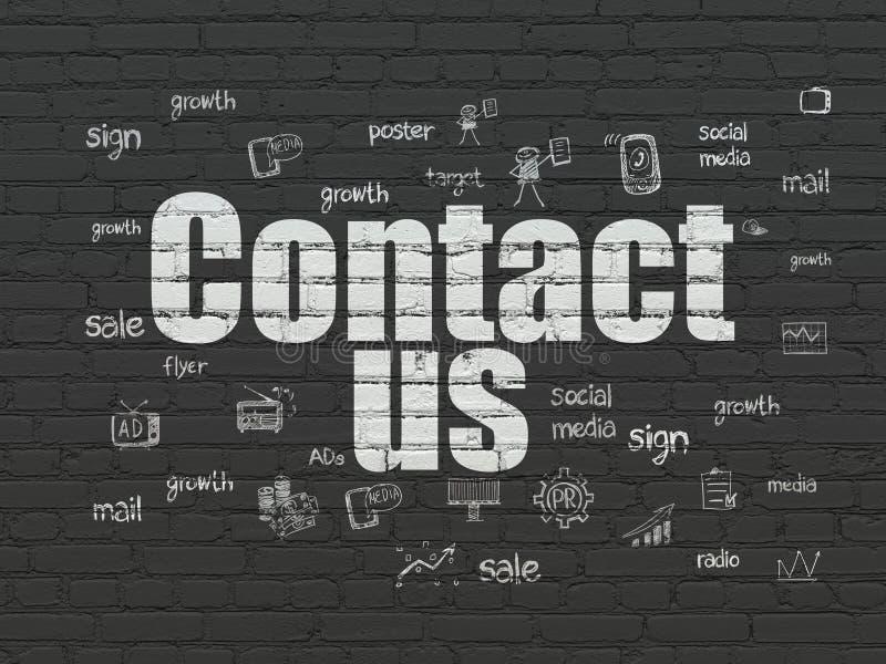 Concepto de la publicidad: Éntrenos en contacto con en fondo de la pared libre illustration
