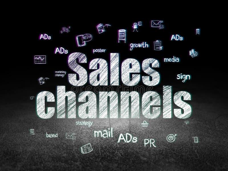 Concepto de la publicidad: Canales de ventas en oscuridad del grunge ilustración del vector