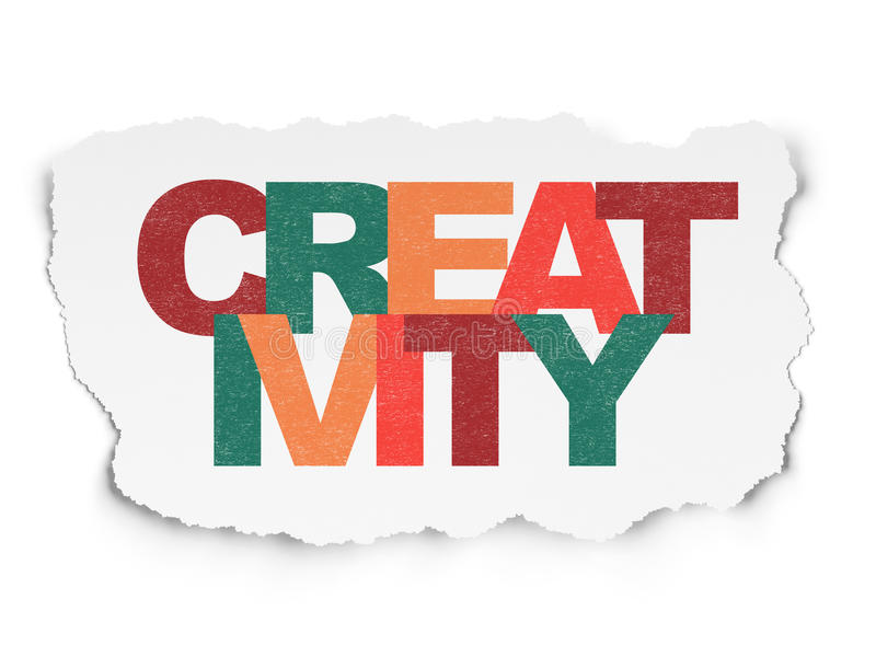 Concepto de la publicidad: Creatividad en el papel rasgado stock de ilustración