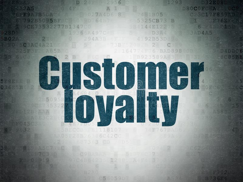 Concepto de la publicidad: Lealtad del cliente en fondo del papel de datos de Digitaces stock de ilustración