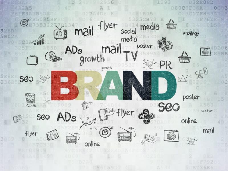 Concepto de la publicidad: Marca en fondo del papel de datos de Digitaces stock de ilustración