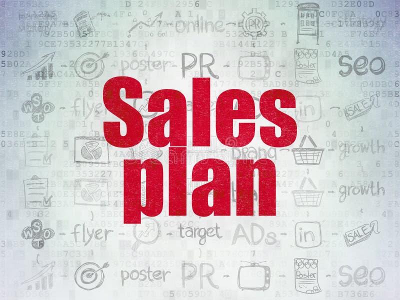 Concepto de la publicidad: Plan de las ventas en digital ilustración del vector