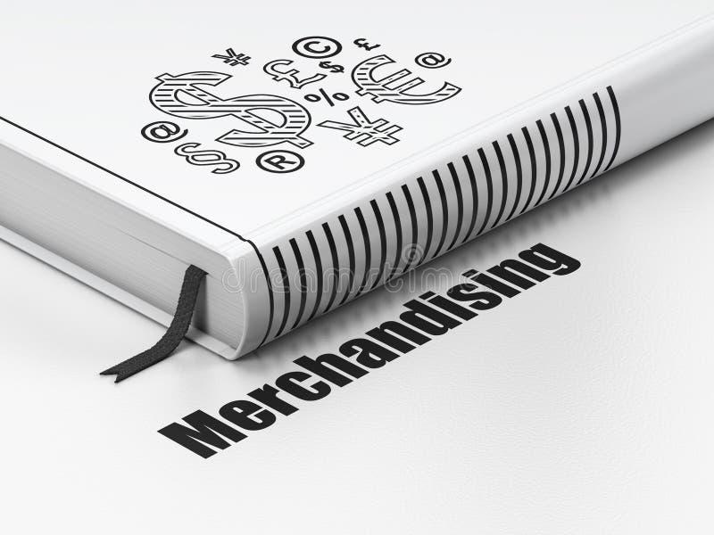 Concepto de la publicidad: reserve el símbolo de las finanzas, commercializando en el fondo blanco imagen de archivo
