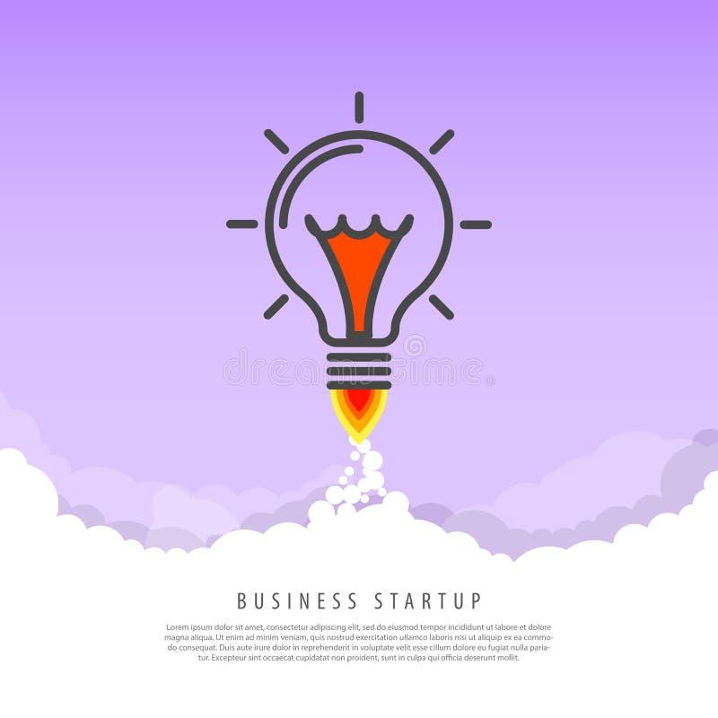 Concepto de la puesta en marcha del negocio Rocket en las nubes ilustración del vector