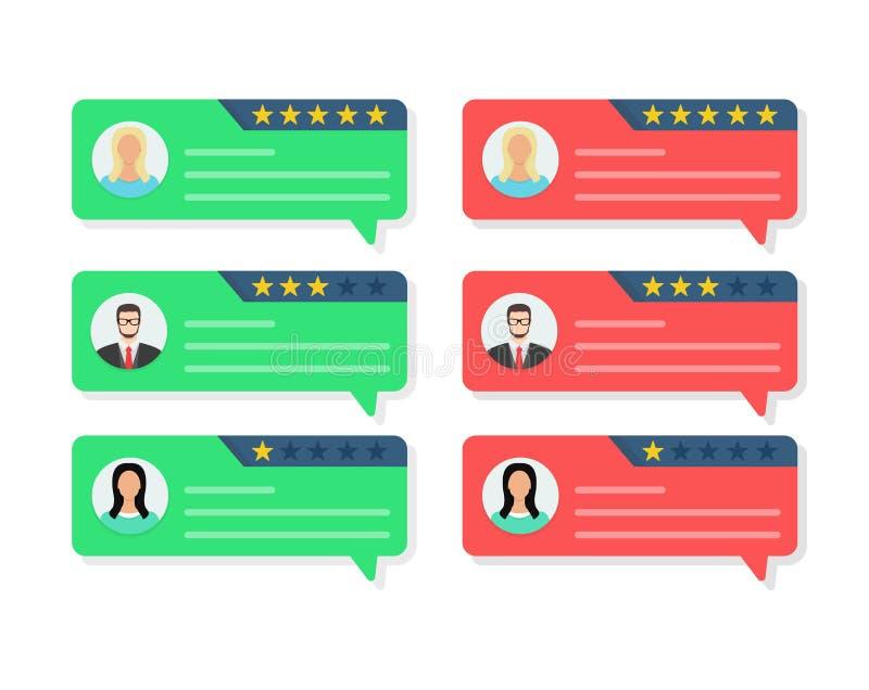 Concepto de la reacción, comunicación del comentario del cliente, certificados, encuesta en línea, estrellas de clasificación, po libre illustration