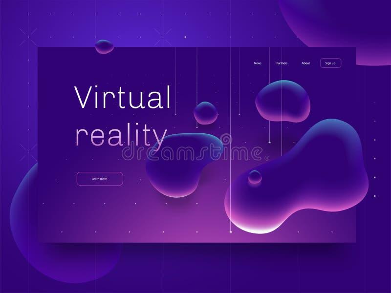 Concepto de la realidad virtual la burbuja del extracto 3d forma el vuelo sobre superficie Plantilla de aterrizaje de la página i stock de ilustración