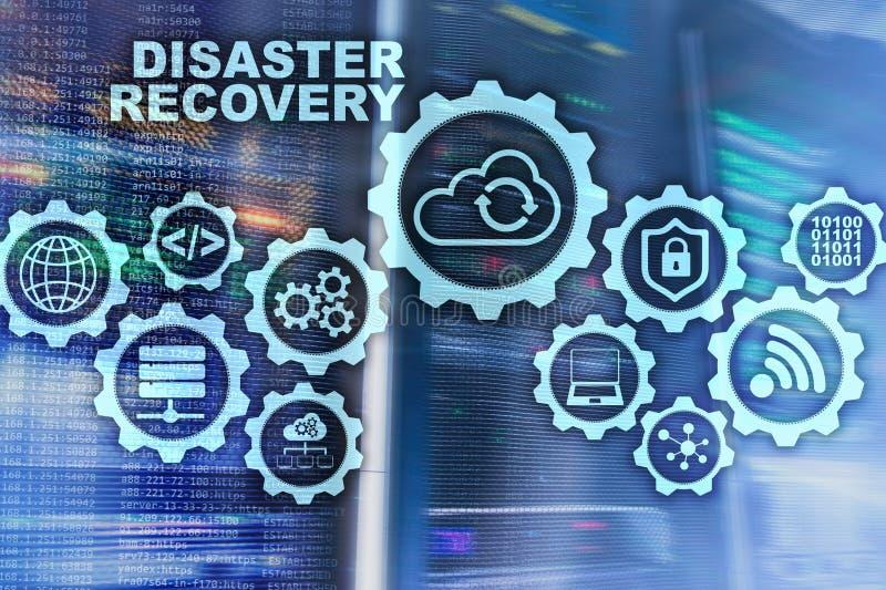 Concepto de la recuperación de catástrofes de Big Data plan de reserva Prevención de la pérdida de datos en una pantalla virtual ilustración del vector