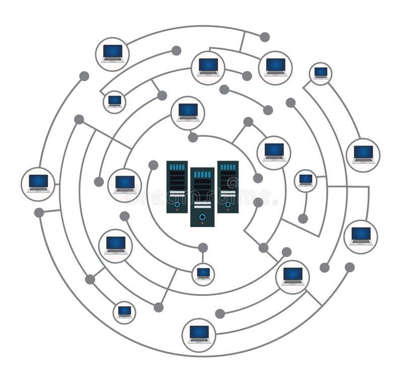 Concepto de la red aislado en el fondo blanco stock de ilustración