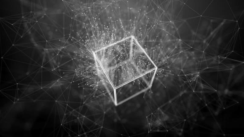 Concepto de la red de la cadena de bloque Datos grandes Fondo hecho de l?nea, de c?rculos y de part?culas representaci?n 4k stock de ilustración