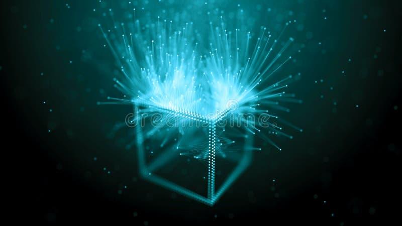 Concepto de la red de la cadena de bloque Datos grandes Fondo hecho de l?nea, de c?rculos y de part?culas representaci?n 4k libre illustration
