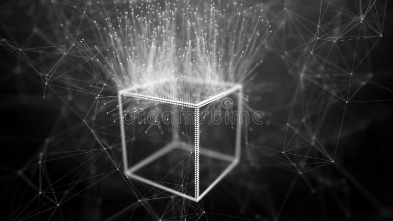 Concepto de la red de la cadena de bloque Datos grandes Fondo hecho de l?nea, de c?rculos y de part?culas representaci?n 4k ilustración del vector