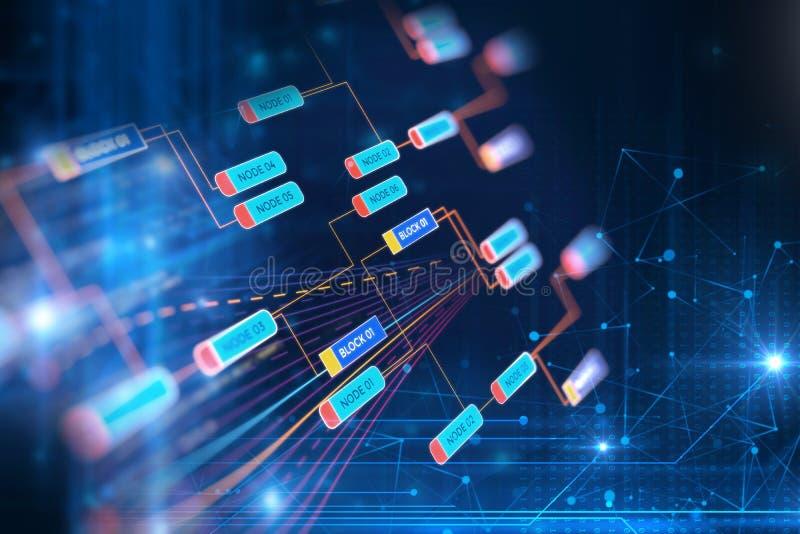 Concepto de la red de la cadena de bloque en fondo de la tecnología ilustración del vector