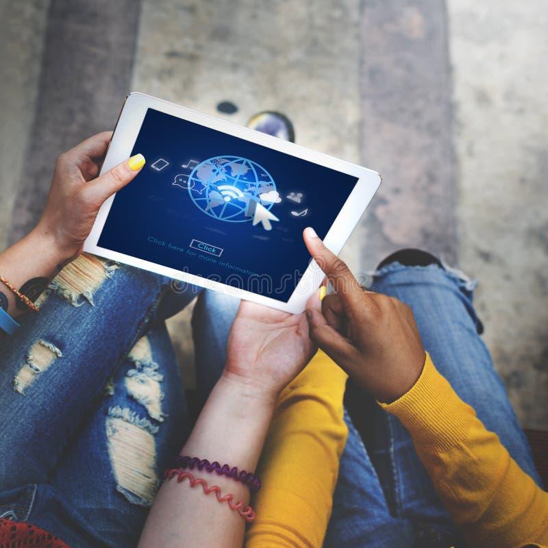 Concepto de la red de la conexión de la comunicación global del interfaz foto de archivo