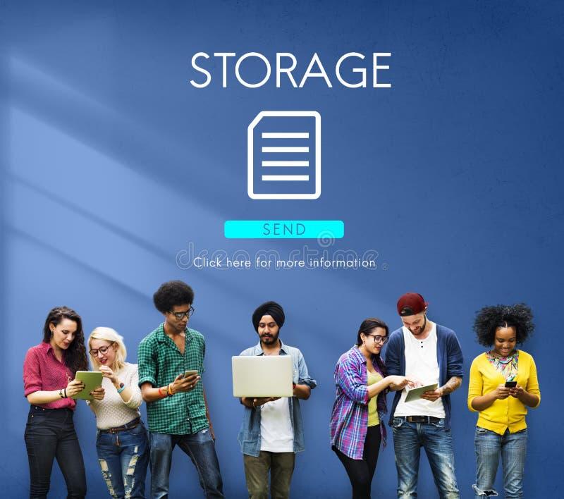 Concepto de la red de la nube de la base de datos del fichero imagen de archivo