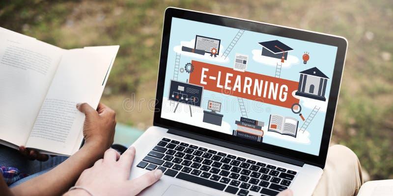 Concepto de la red de la tecnología de Internet de la educación del aprendizaje electrónico imagen de archivo libre de regalías