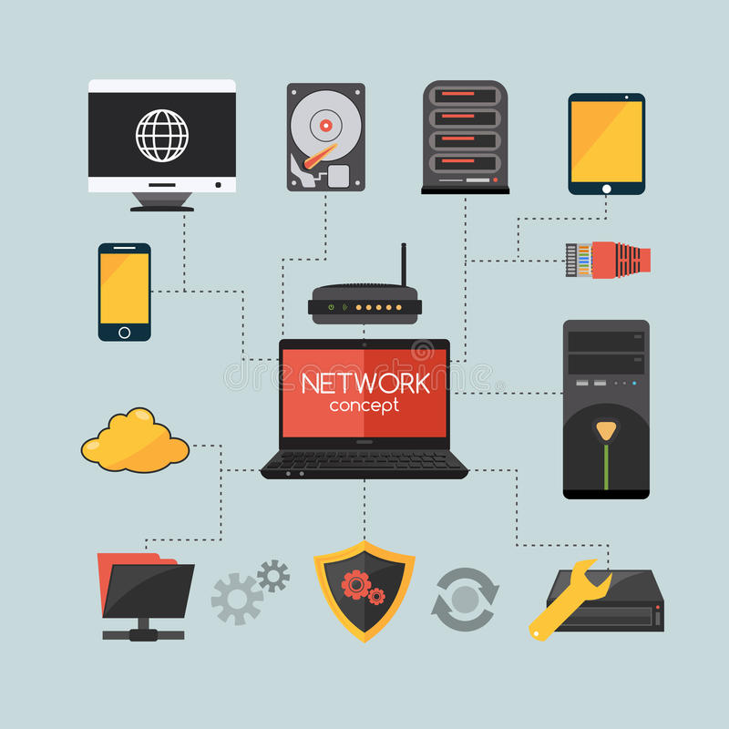 Concepto de la red de ordenadores libre illustration