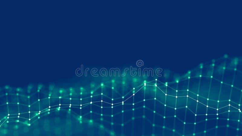 concepto de la red del fondo del extracto 3d Ejemplo futuro de la tecnología del fondo paisaje 3d Datos grandes Wireframe imágenes de archivo libres de regalías