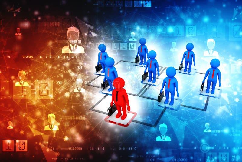 Concepto de la red del negocio, líder, concepto de la dirección, comunicación empresarial representación 3d imagenes de archivo