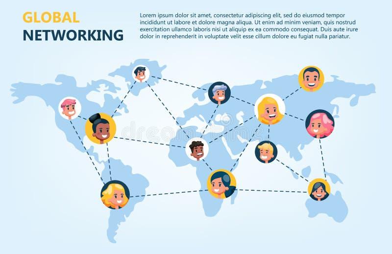 Concepto de la red global Idea de la comunicación en línea libre illustration