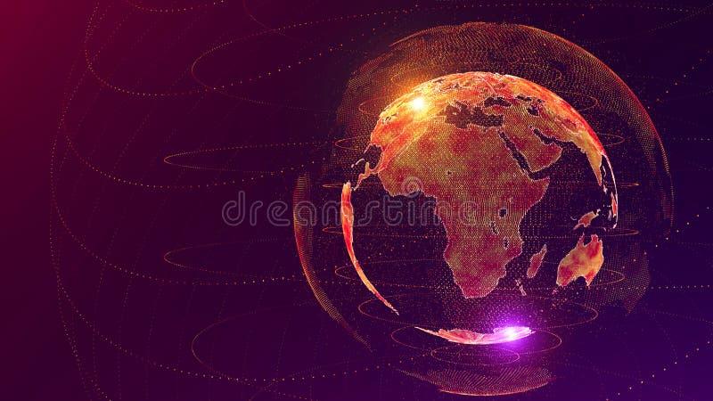 Concepto de la red global de la inteligencia artificial del AI del mundo Internet de IOT de cosas Red de comunicaciones globales