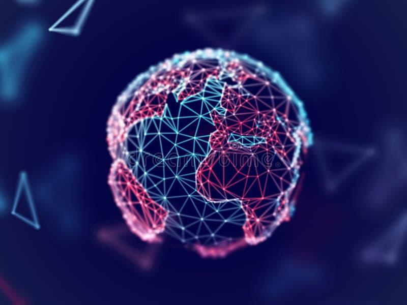Concepto de la red global: tierra digital del planeta con las líneas de la conexión stock de ilustración