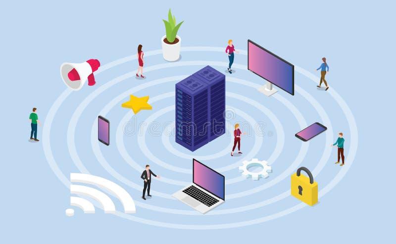 Concepto de la red inalámbrica con diversa tecnología del dispositivo y símbolo de Internet del icono con 3d el estilo isométrico libre illustration
