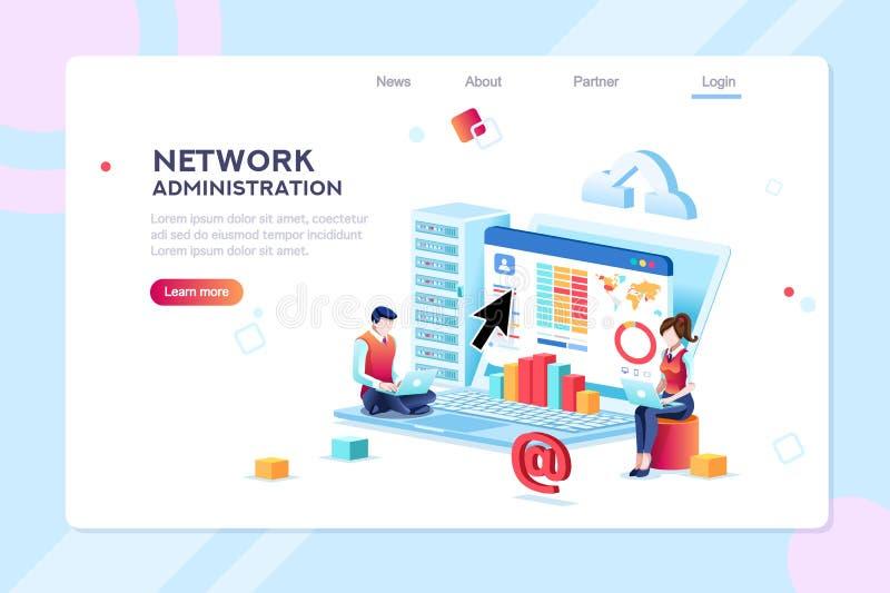 Concepto de la red de información de la administración del centro de datos stock de ilustración