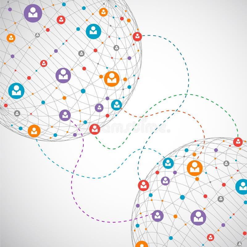 Concepto de la red/medios sociales stock de ilustración