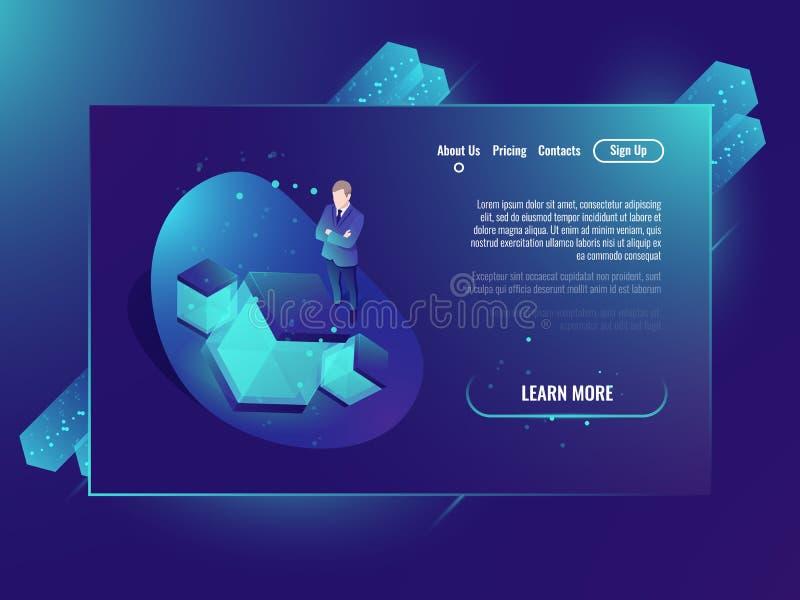 Concepto de la red neuronal, desarrollo de la inteligencia artificial, sitio del servidor, web hosting, almacenamiento de datos d stock de ilustración