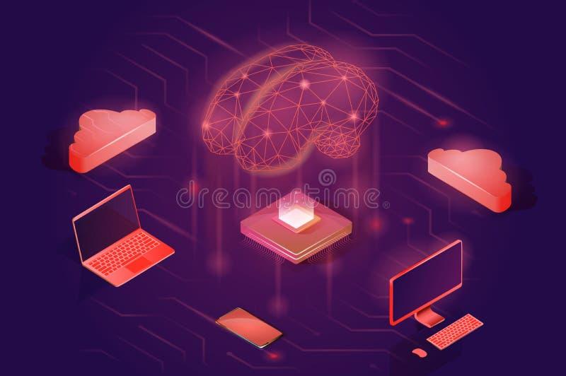 Concepto de la red neuronal Ejemplo isométrico del vector de la inteligencia artificial ilustración del vector