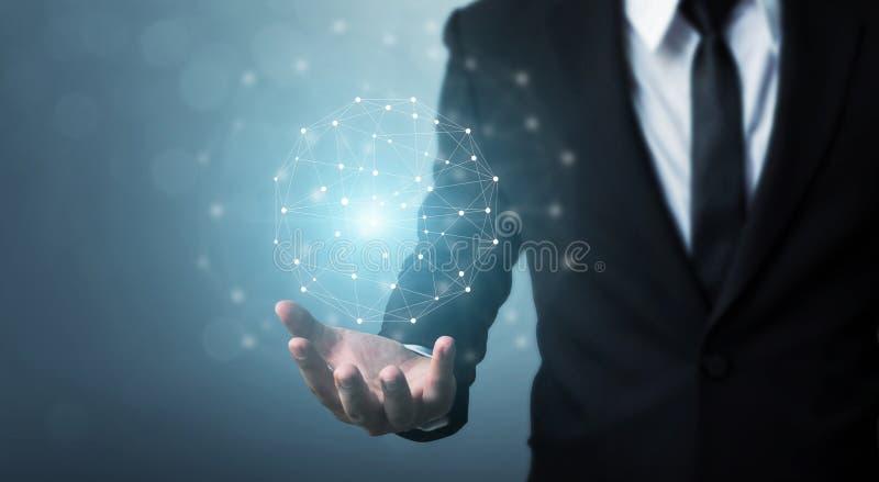 Concepto de la red de ordenadores y de la conexión a internet, hombre de negocios ha foto de archivo libre de regalías