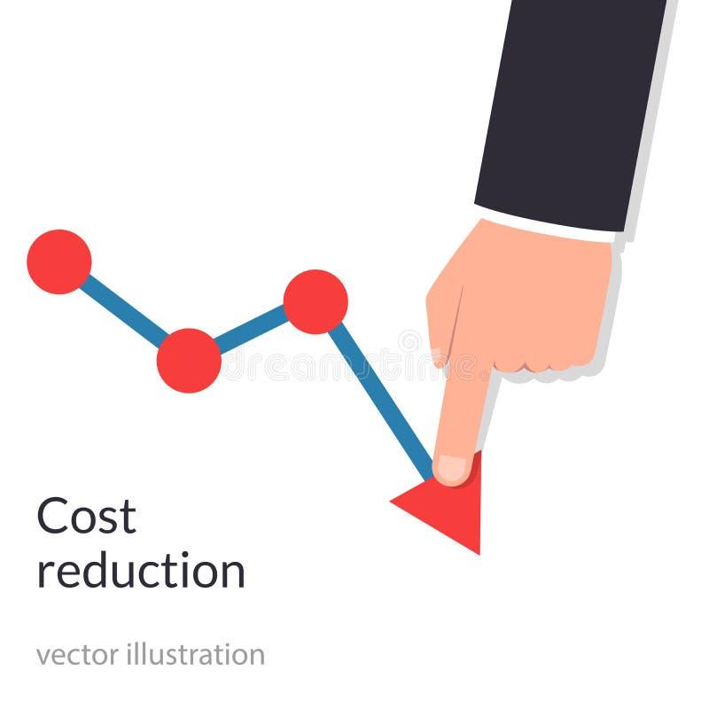 Concepto de la reducción de costes Coste abajo El hombre de negocios con su mano baja la flecha del gráfico Disminuya abajo de be ilustración del vector
