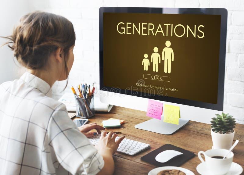 Concepto de la relación de la unidad de la familia de las generaciones foto de archivo libre de regalías