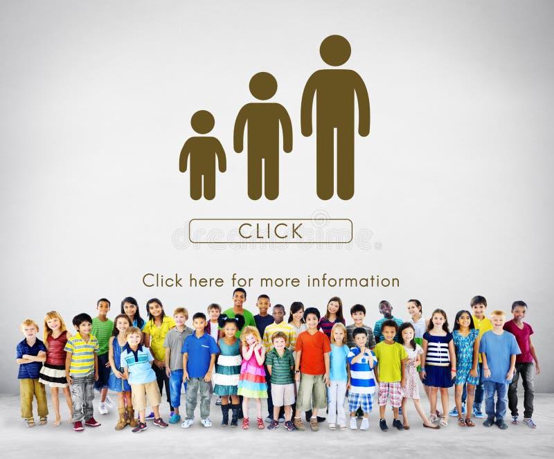 Concepto de la relación de la unidad de las generaciones de la familia imagenes de archivo