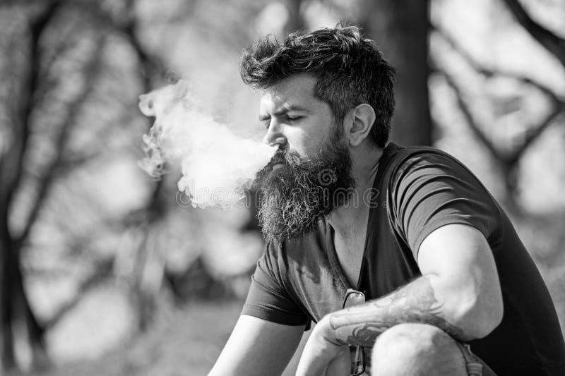 Concepto de la relajación El hombre con la barba y las nubes del humo largas parece relajado El hombre barbudo fuma el vape el dí foto de archivo libre de regalías