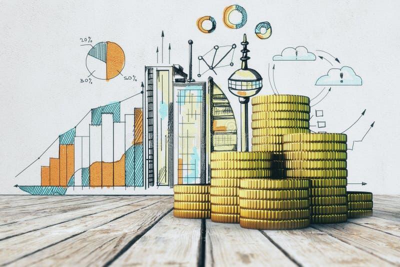 Concepto de la renta y de la riqueza stock de ilustración