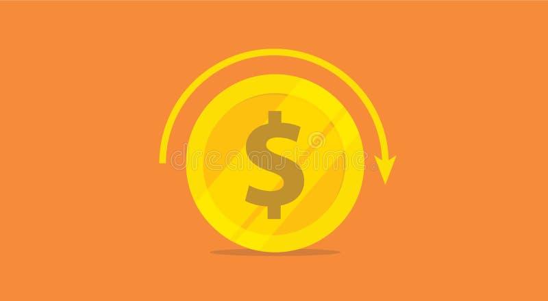 Concepto de la rentabilidad de la inversión del ROI con el icono y el balanceo de vuelta de la flecha del círculo - vector del di ilustración del vector