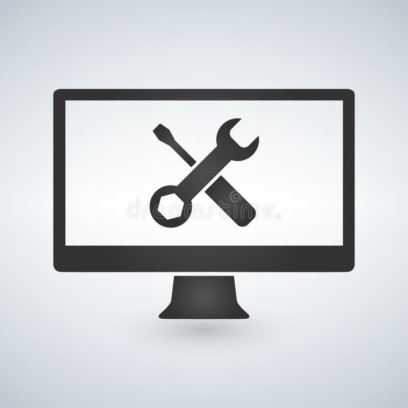 Concepto de la reparación del ordenador Pantalla de ordenador con las herramientas de funcionamiento libre illustration