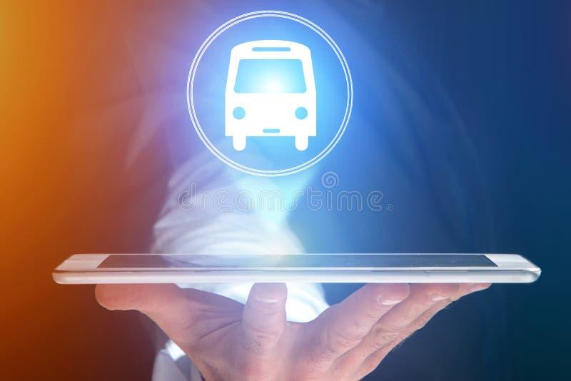 Concepto de la reservación de autobús del boleto de concepto del viaje en línea - stock de ilustración
