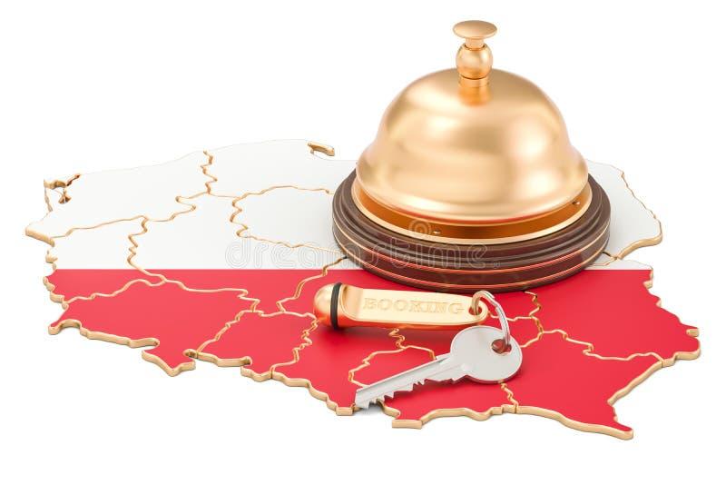 Concepto de la reservación de Polonia Bandera polaca con llave y la recepción del hotel stock de ilustración