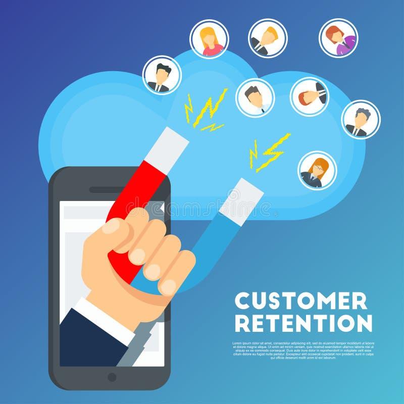 Concepto de la retención del cliente Estrategia de marketing de la compañía stock de ilustración