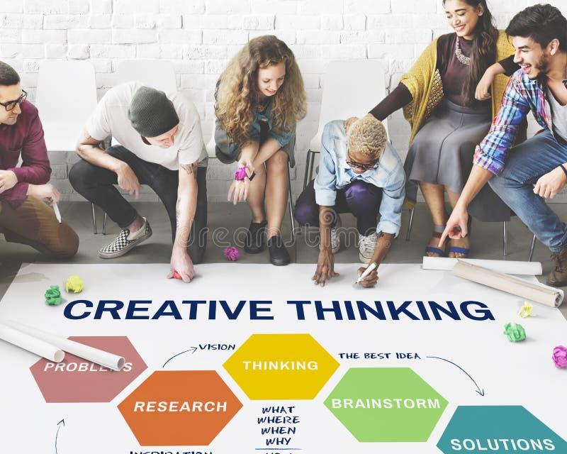 Concepto de la reunión de reflexión de la creatividad de la estrategia de la innovación foto de archivo