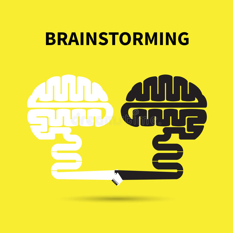 Concepto de la reunión de reflexión Diseño creativo del logotipo del vector del extracto del cerebro stock de ilustración