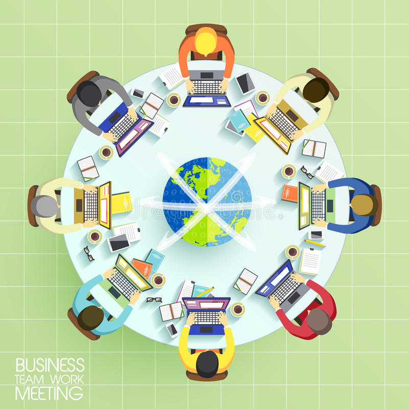 Concepto de la reunión del trabajo del equipo del negocio stock de ilustración