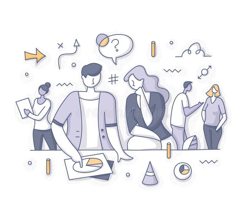 Concepto de la reunión de reflexión del trabajo en equipo y de la estrategia stock de ilustración