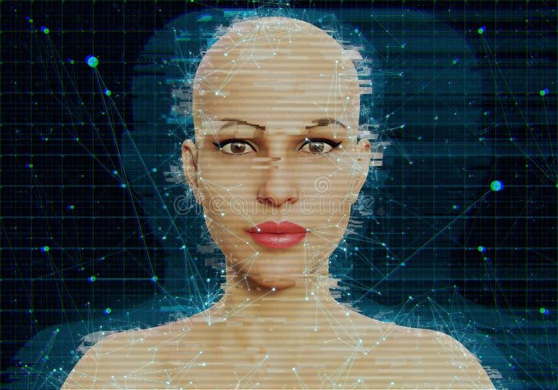 Concepto de la robótica del AI de la inteligencia artificial stock de ilustración