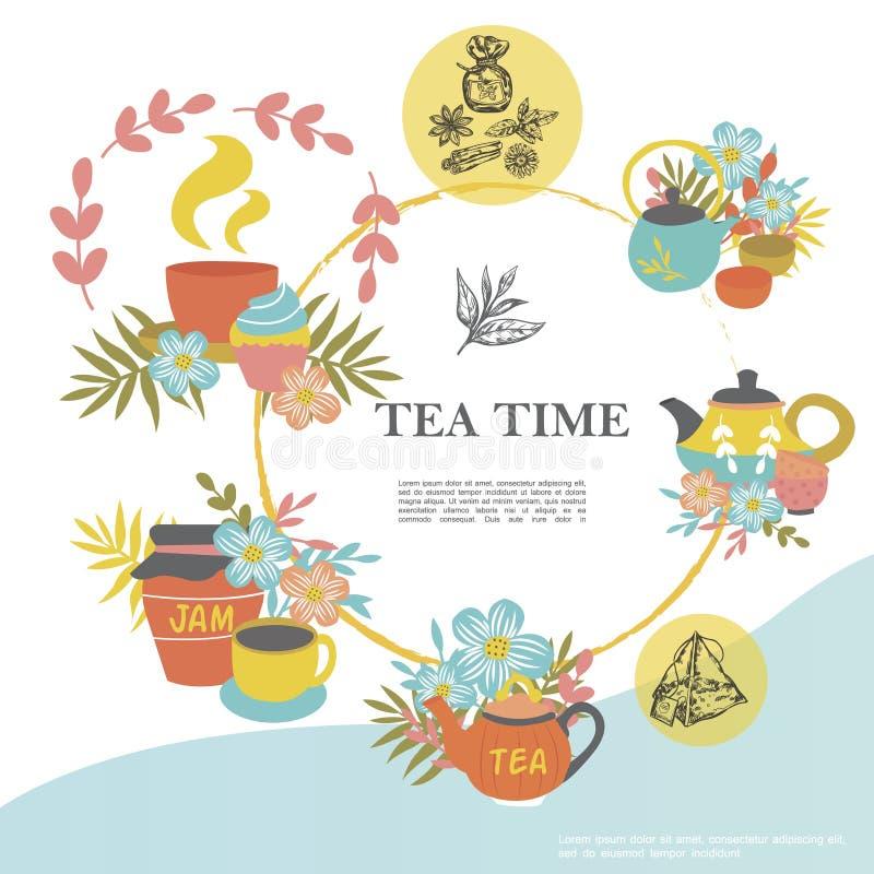 Concepto de la ronda del tiempo del té del bosquejo stock de ilustración