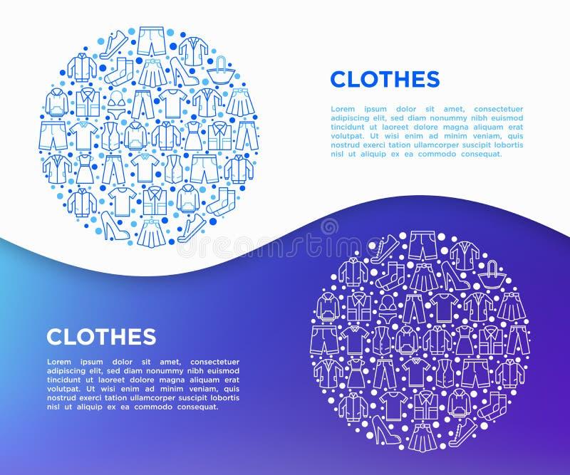 Concepto de la ropa en círculo con la línea fina sistema de los iconos: camisa, zapatos, pantalones, sudadera con capucha, zapati stock de ilustración