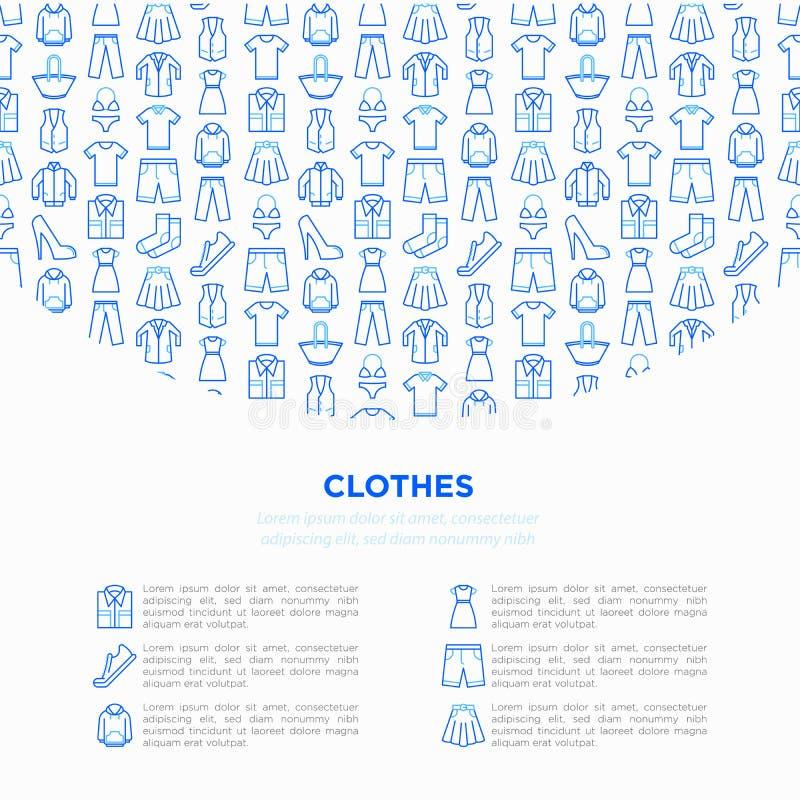 Concepto de la ropa en círculo con la línea fina sistema de los iconos: camisa, zapatos, pantalones, sudadera con capucha, zapati fotos de archivo