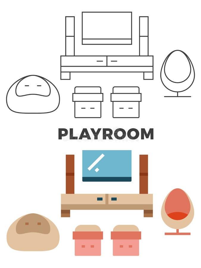 Concepto de la sala de juegos - el plano y la línea sitio de estilo diseñan stock de ilustración